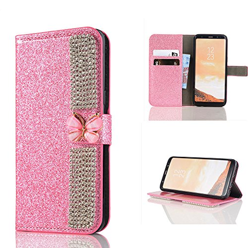 Price comparison product image Wallet Making Elaco Leather Card Magnetic Case Cover For Samsung Galaxy S8 5.8inch/S8 Plus 6.2inch (Pink, S8 5.8inch)