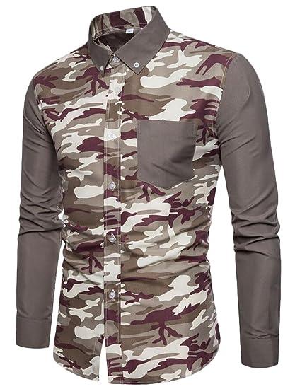 f718ccb367 X-Future Mens Casual Camo Stitching Shirts Long Sleeve Button Down Shirt at  Amazon Men s Clothing store
