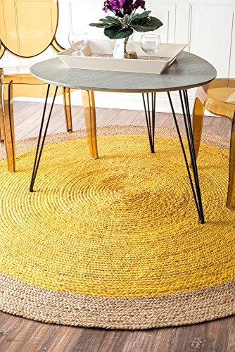 Rug Border Jute (Handmade Natural Fibers Border Jute Yellow Round Area Rugs, 6 Feet Diameter (6' Round))