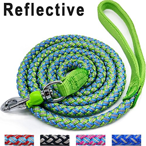 (Mycicy Mountain Climbing Rope Dog Leash, 6 Foot Reflective Nylon Braided Heavy Duty Dog Training Leash for Large and Medium Dogs Walking Leads (Green))