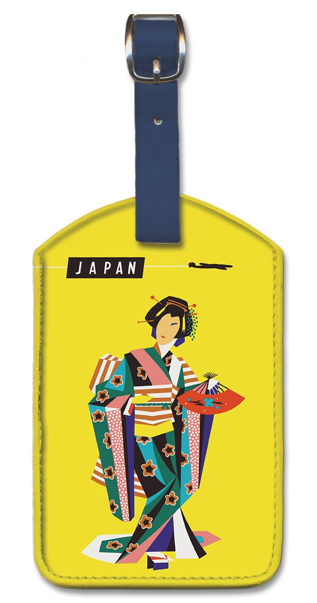 Pacifica Island Art Leatherette Luggage Baggage Tag Japan by Harry Rogers