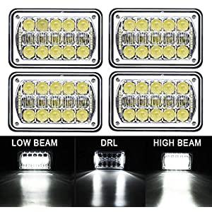 "COWONE 4Pcs 60W Cree Brightest 4X6"" inch Chrome Rectangular LED Headlights Replacement for H4651 H4652 H4656 H4666 H4668 H6545 Kenworth T800 T400 T600 Peterbilt 357 378 379 FREIGHTLINER 112 120"