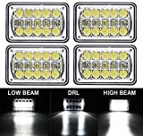 """COWONE 4Pcs 60W Cree Brightest 4X6"""" inch Chrome Rectangular LED Headlights Replacement for H4651 H4652 H4656 H4666 H4668 H6545 Kenworth T800 T400 T600 Peterbilt 357 378 379 FREIGHTLINER 112 120"""