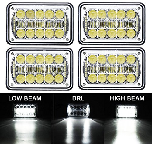 "COWONE 4Pcs 60W Cree Brightest 4X6"" inch Chrome Rectangular for sale  Delivered anywhere in USA"