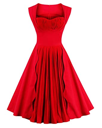 7118f7fa7aa Killreal Women s Vintage Cocktail Party Plain Dress with Pleated Chiffon  Patchwork Red Small