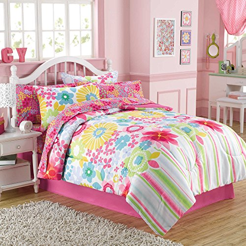 Bouquet Kids Beautiful Floral Pink Microfiber Down Bedding TWIN Comforter Set (6 Piece in a Bag) (Monster High Dog)