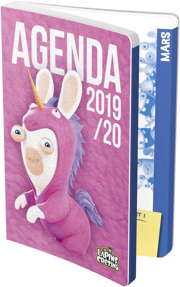 Un jour par page 2019//2020 Football 1 Agenda scolaireLapins Cr/étins Funny 12x17 cm
