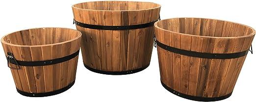 Macetas de jardín de Madera Dura Click-Deck – Juego de 3 macetas pequeñas/Medianas/Grandes de Medio Barril: Amazon.es: Jardín