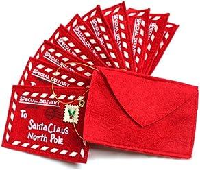 Bosun(TM) 10pcs Christmas tree ornament folding envelope candy bag greeting thank you card