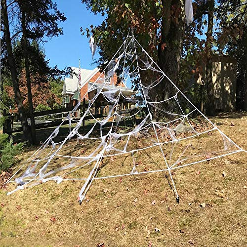 Funny Party Giant Outdoor Yard Spider Web with Super Stretch Cobweb Set, Perfect Decor Kit For Cute Or Scary Halloween Decorations for $<!--$9.86-->