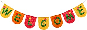 hogardeck Welcome Banner Sign, Colorful Welcome Banner Garland for Spring Decorations - Indoor Outdoor Mantel Fireplace Hanging Decor Birthday Party Decorations