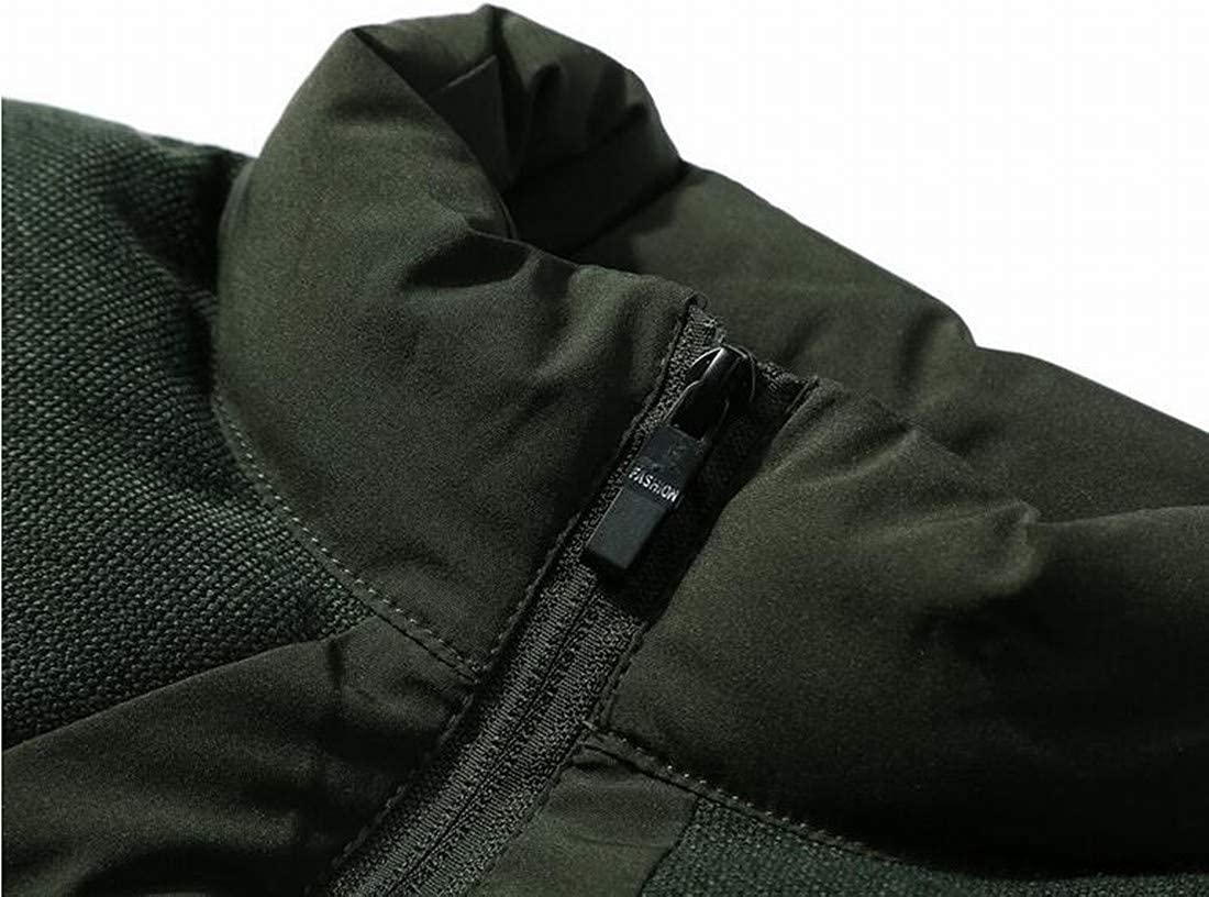 MK988 Men Patchwork Winter Corduroy Sleeveless Thermal Stand Collar Down Coat Vest Outerwear