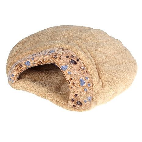 Cama de mitad cubierta de cojin de mascotas - SODIAL(R)Nueva cama de mitad cubierta de cojin de mascotas comoda y calida de invierno bonita en forma ...