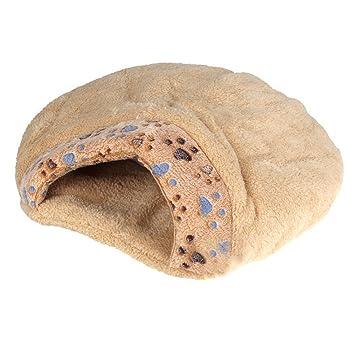 camas para mascotas - SODIAL(R)Nueva cama de mitad cubierta de cojin de mascotas comoda y calida de invierno bonita en forma de hamburguesa de felpa S: ...