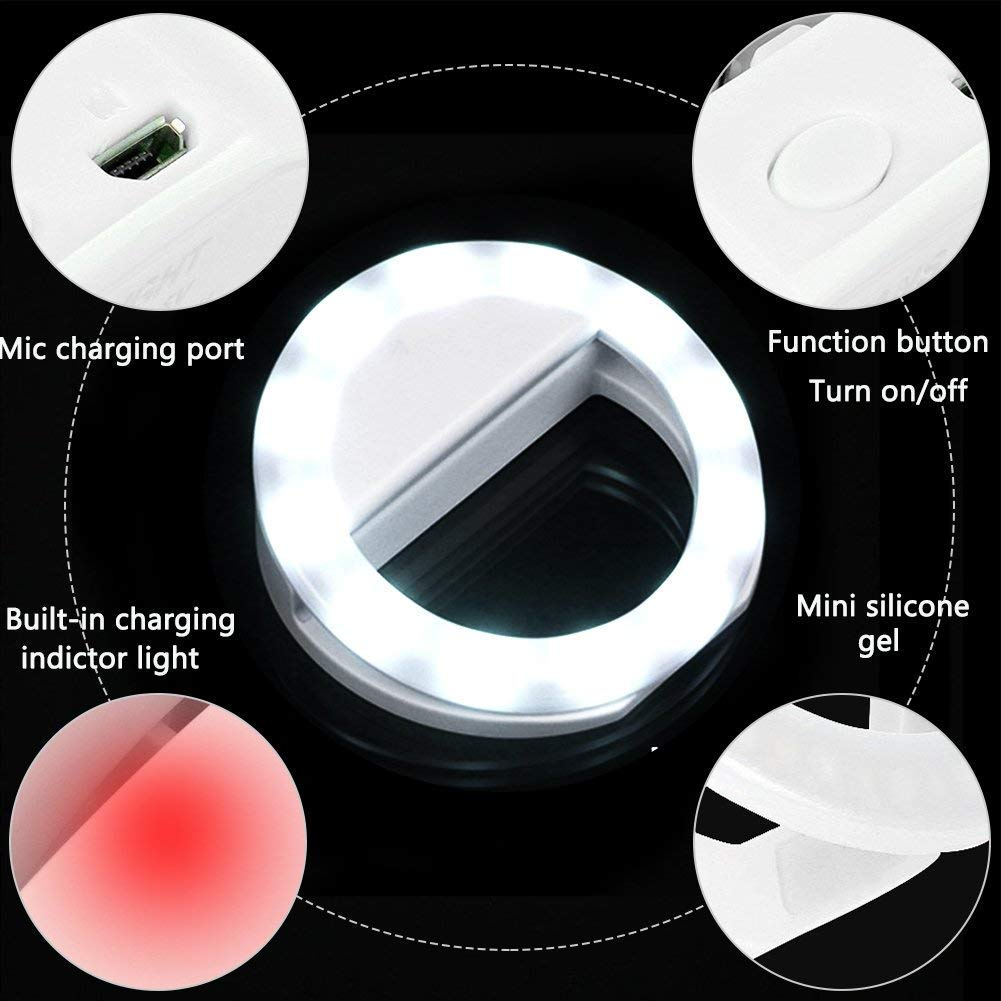 XINBAOHONG Rechargeable Portable Clip-on Selfie Fill Light with 36 LED for Smart Phone Photography Girl Makes up White, 36LED Selfie Ring Light Camera Video