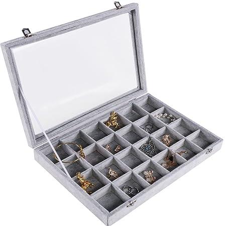 8eb0a9da9 Meshela Velvet Glass Jewellery Ring Display Organiser Box Tray Holder  Earring Storage Case for Women Girls (24 Grids): Amazon.co.uk: Kitchen &  Home