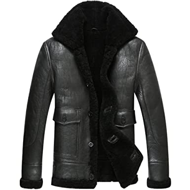 0422940ce953 Leather Jacket Men Shearling Coat Pilot Outerwear B3 Men Casual Lapel Parka  (XS