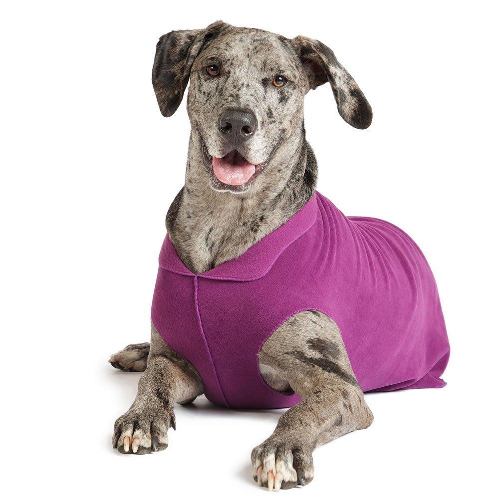 Gold Paw Stretch Fleece Dog Coat - Soft, Warm Dog Clothes, Stretchy Pet Sweater - Machine Washable, Eco Friendly - All Season - Sizes 2-33, Eggplant, Size 12 by Gold Paw