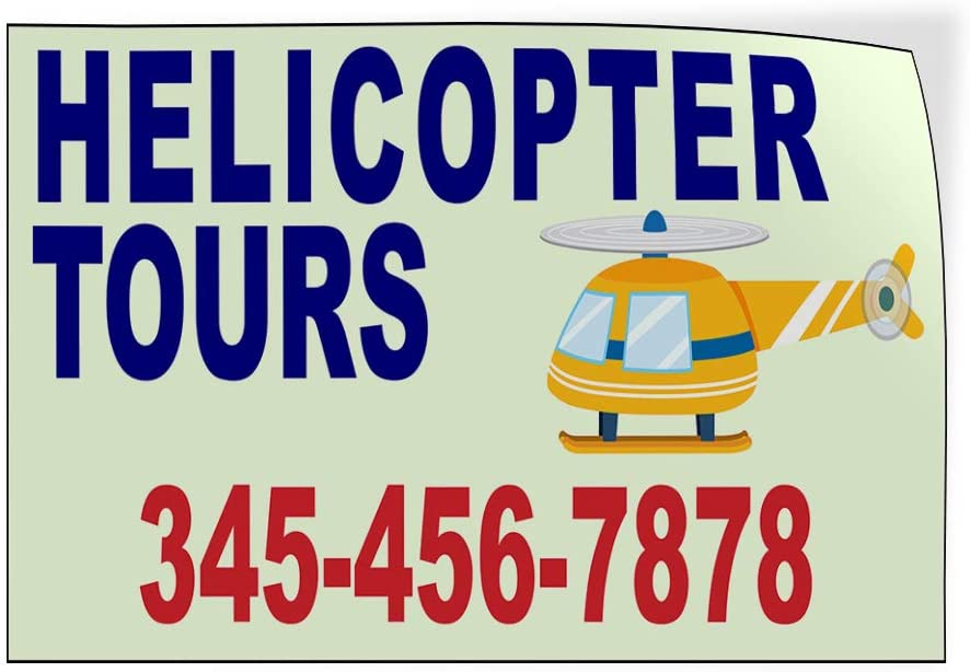 Custom Door Decals Vinyl Stickers Multiple Sizes Helicopter Tours Phone Number Helicopter Business Helicopter Tours Outdoor Luggage /& Bumper Stickers for Cars Blue 34X22Inches Set of 5