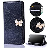 Stysen Wallet Case for Huawei Mate 10 Pro,Shiny Black Bookstyle with Strass Butterfly Bowknot Buckle Protective Wallet Case Cover for Huawei Mate 10 Pro-Butterfly,Black