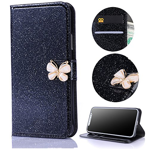 Stysen Galaxy S6 Edge Wallet Case,Shiny Black Bookstyle with Strass Butterfly Bowknot Buckle Protective Wallet Case Cover for Samsung Galaxy S6 Edge-Butterfly,Black by Stysen