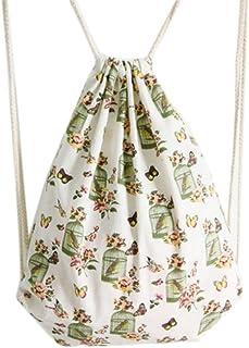haodou Sacca tela tempo libero zaini fiori e uccelli modello Sport tasche cordino Gymsack per sacca per bambini ragazzi ragazze