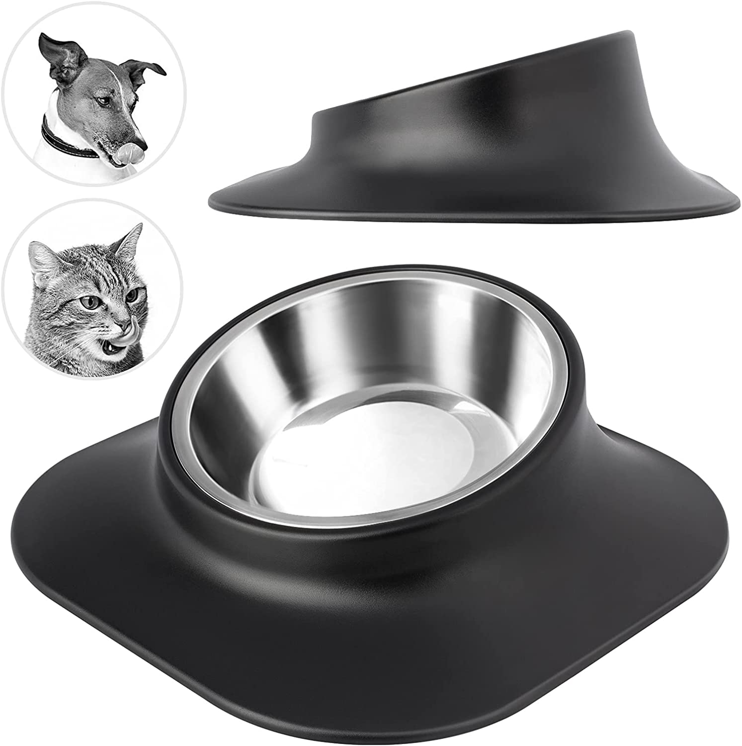 Dog Bowls Cat Food Bowls Stainless Steel Pet Water Bowl, No Spill Non-Skid, 15° Tilted Raised to Protect The Animal Spine, for Pets Puppy Small Medium Dogs 420ml Black (Single Bowl)