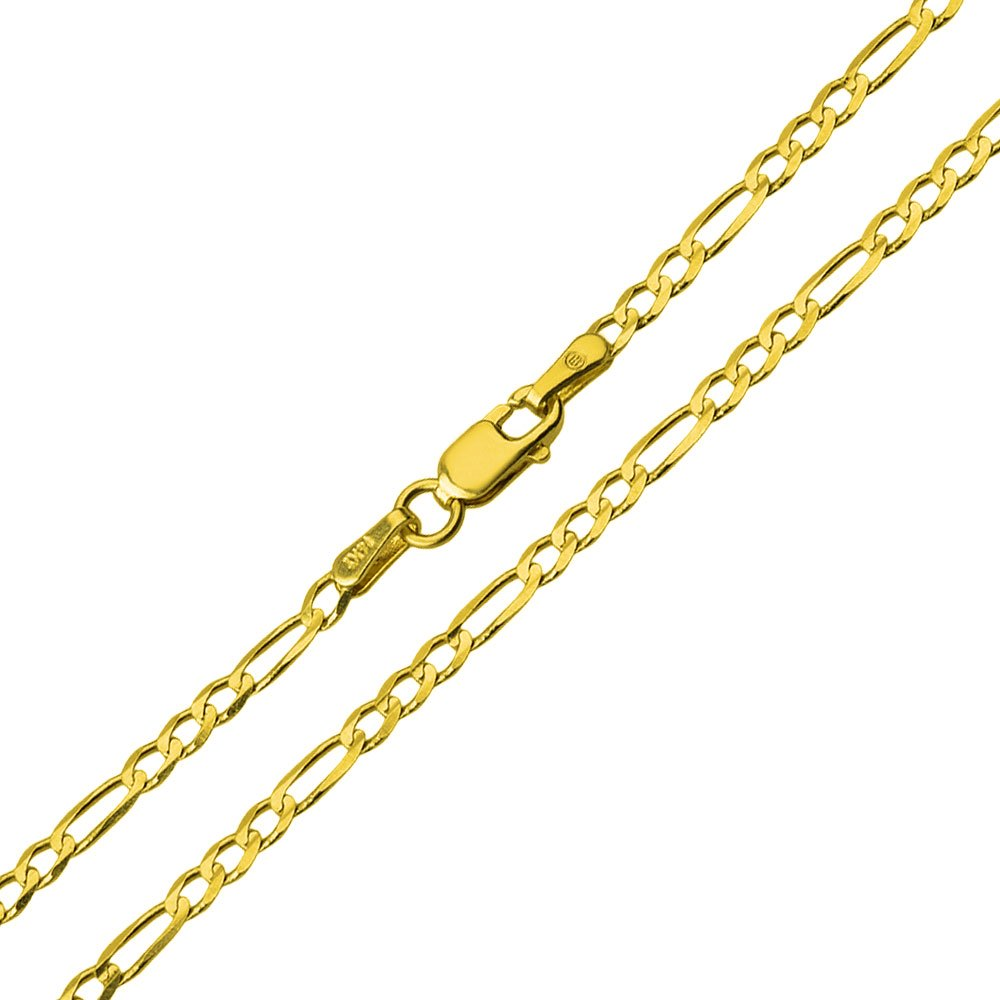 Solid 14k Yellow Gold 2mm Figaro Link Chain Necklace, 16''