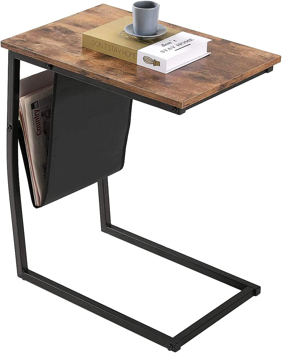 BONZY HOME Industrial Side Table with Side Pocket, Sofa Snack Table for Living Room, Couch Tables That Slide Under, C Side Table