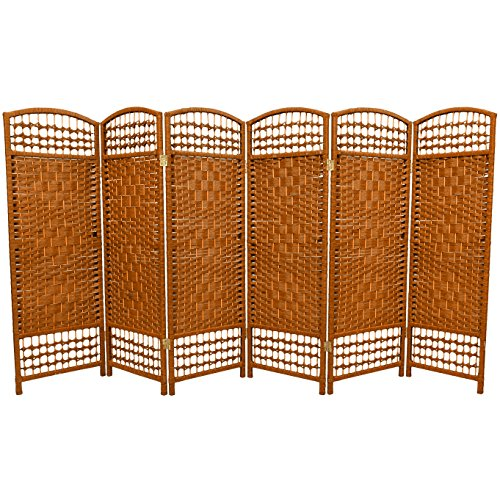 7 Panel Partition (Oriental Furniture 4 ft. Tall Fiber Weave Room Divider - Dark Beige - 6 Panels)