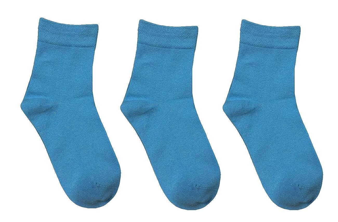 Rambutan Kids Comfort Seam Plain Color Socks (3 Pack) 13-2, Light Blue RY3-004