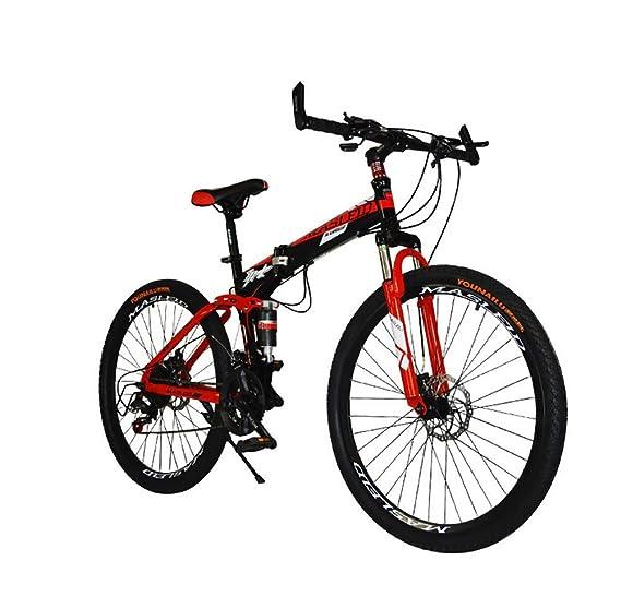 MASLEID 26 pulgadas bicicleta plegable, bicicleta de montaña, 27 velocidades, blanco, negro, azul, rojo , red: Amazon.es: Deportes y aire libre