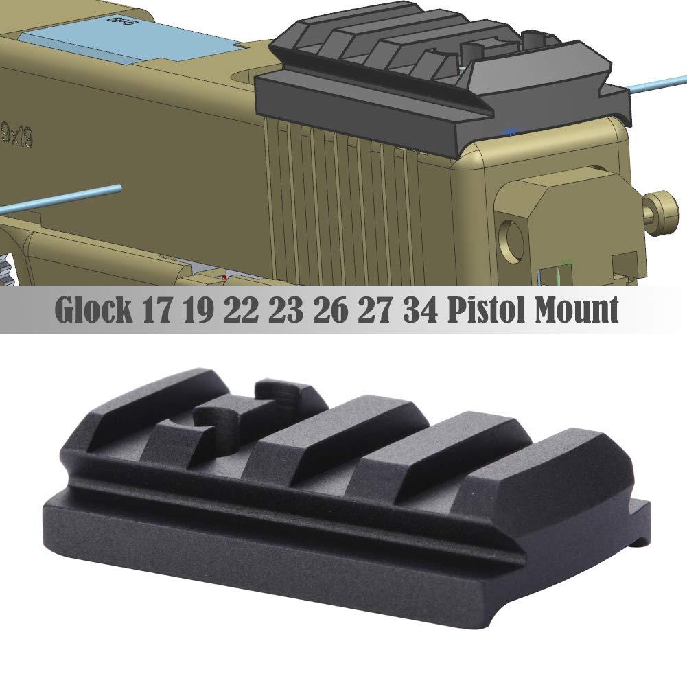 TuFok Glock Sight Mount Plate - Glock 17 19 22 23 26 27 34 Rail for Install Pistol Red Dot Sight by TuFok