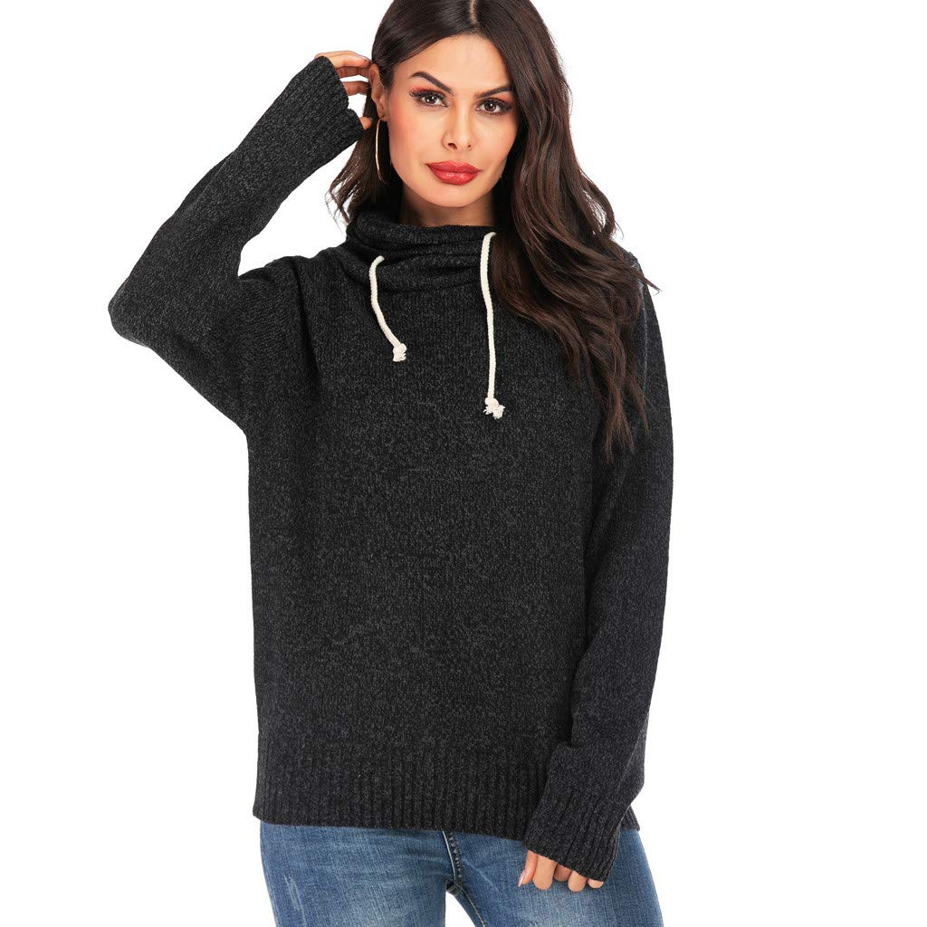 Hoodies for Women Pullover Cute Knitting Lightweight Workout Casual Loose Drawstring Hooded Sweaters Tops Black by Letdown_Women Hoodies
