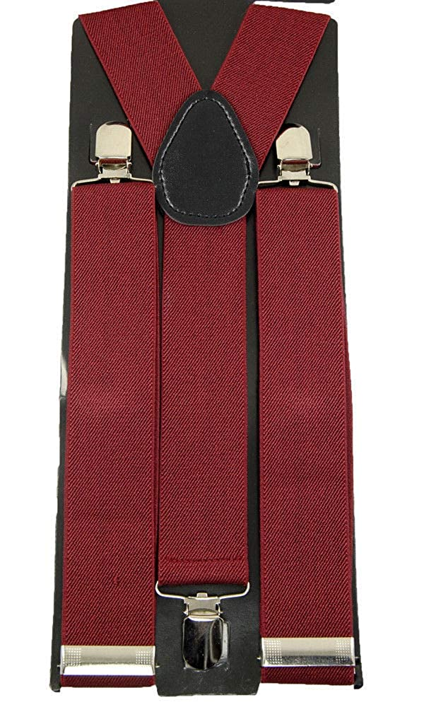 Quality Unisex Clip-on Braces ElasticBurgundy Y Back Suspender 1 1//2 #MNAS