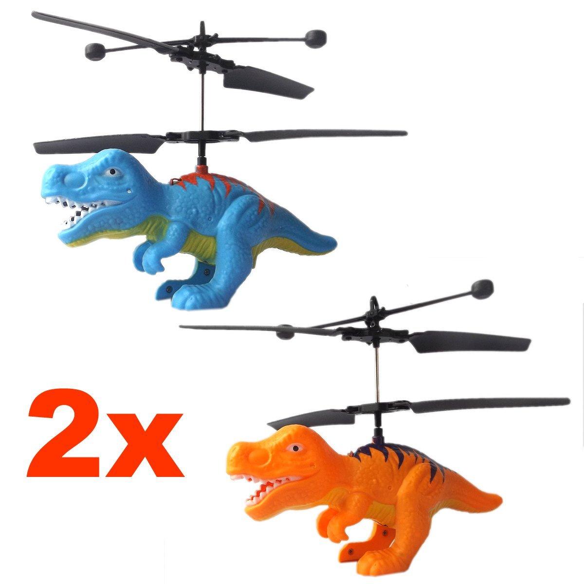 2x Fliegender Dinosaurier T-Rex Hubschrauber (Kombipack) mit hellen LED Licht-Einfach zu Steuern mit der Hand!Das Spielzeug für Jung und Alt!Der Megaspaß und Gag auf jeder Party als Geburtstagsgeschenk dr4455665 Fahrzeuge & Schiffe