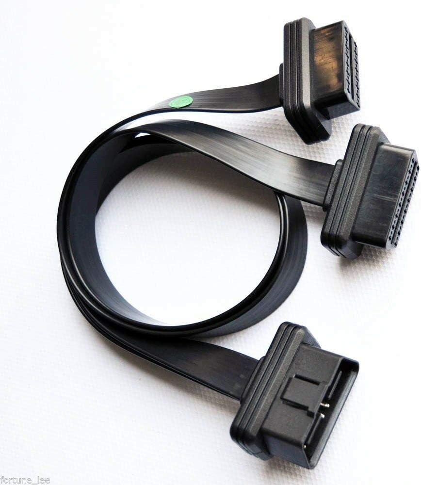 Proscan Automotive OBD II OBD2 16 Pin Splitter Extension 1 x Male and 2 x Female Extension Cable Adaptor 50cm Adaptador de Cable