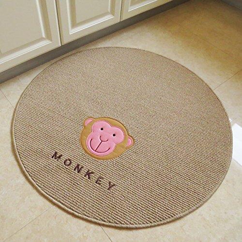 MZPRIDE Korean Round Rug Round Chair Mat Cute Cartoon Monkey Carpet Beige