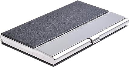 Quantum Abacus Tarjetero/Estuche para tarjetas de visita, de acero inoxidable y cuero PU, elegancia clásica de todos los tiempos, 703-01 (DE): Amazon.es: Oficina y papelería