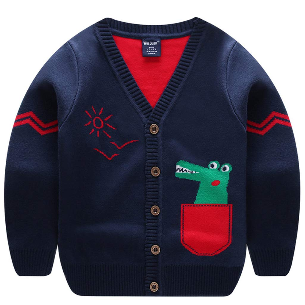 Tailloday Toddler Boys Children's Long Sleeve Knitted Sweatshirts Cartoon Dinosaur V-Neck Cardigan Sweaters(Black,140)