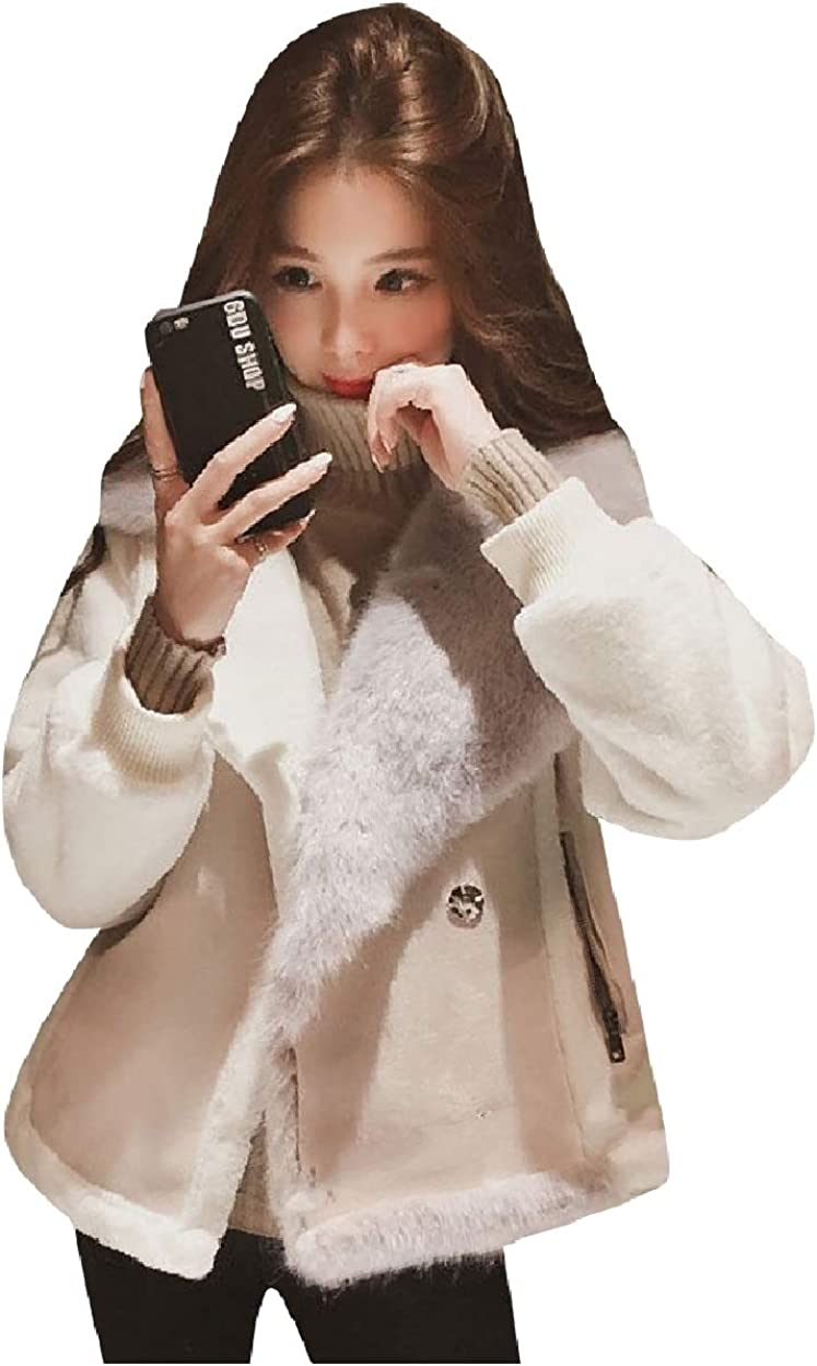 Howme Womens Short Fashional Thick with Faux Fur Hood Bomber Jackets