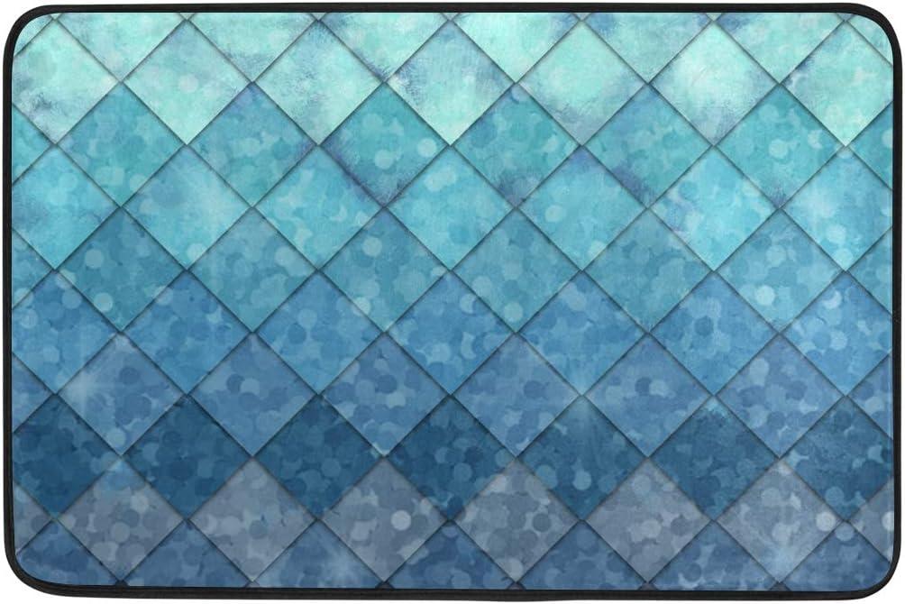 JIRT Home Carpet Non Slip Doormat Area Rug Abstract Mermaid Scales Anti Skid Pads Floor