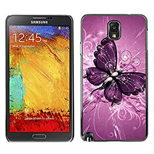 Paccase / SLIM PC / Aliminium Casa Carcasa Funda Case Cover para - Butterfly Painting Purple Floral Pattern - Samsung Note 3 N9000 N9002 N9005