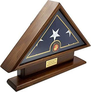 product image for 5x9 with Base, Marine, Brown Burial/Funeral/Veteran Flag Elegant Display Case, Solid Wood, Walnut Finish (5x9 with Base, Brown)