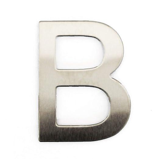 Letra de acero inoxidable adhesiva, altura 7,5 cm, número de casa, número de puerta de diseño B