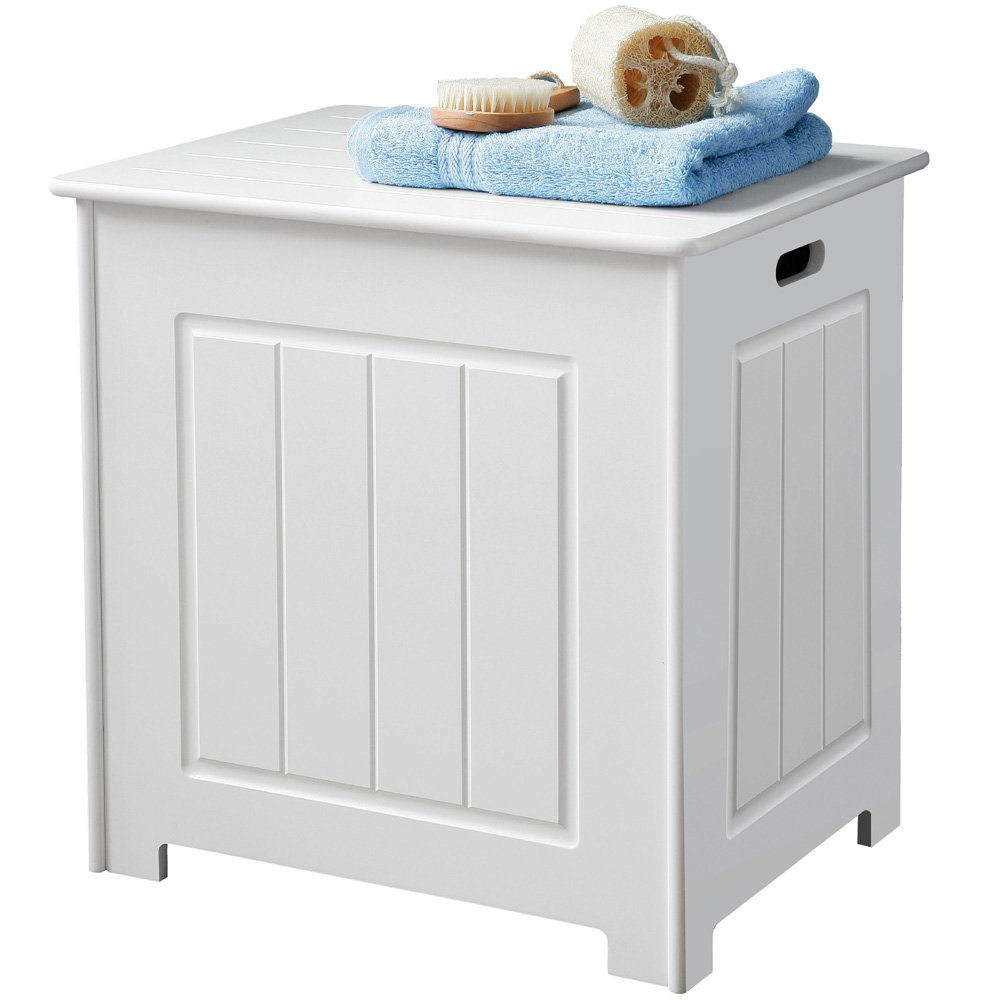 Wooden Storage Stool / Laundry Bin - White Amazon.co.uk Kitchen u0026 Home  sc 1 st  Amazon UK : white bathroom stool - islam-shia.org
