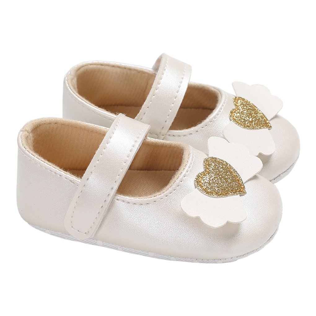 Baby Girls Dress Shoes Shiny Love Heart Cute Wings Mary Jane Slip-on Crib Shoes White Size L