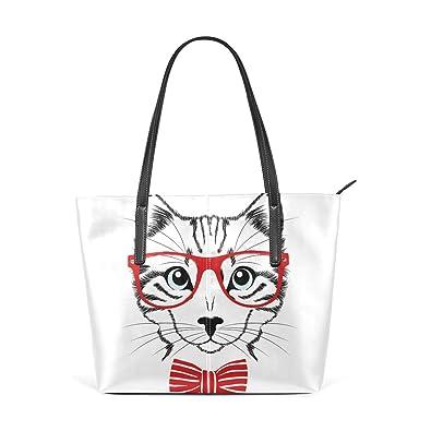 Amazon.com: Bolso de piel sintética para mujer con gato y ...