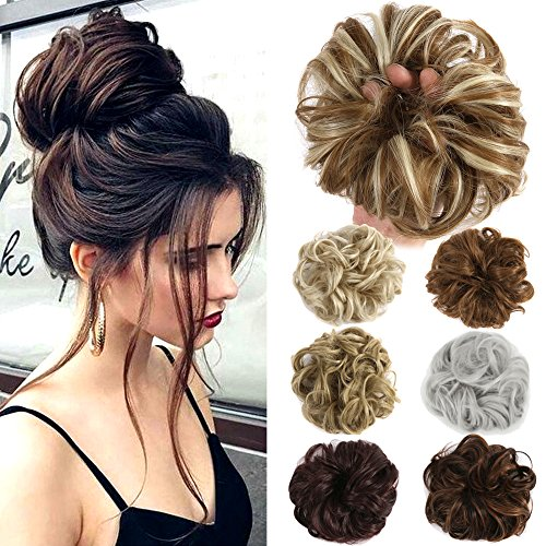 Lelinta Hair Bun Extensions Wavy Curly Mess…