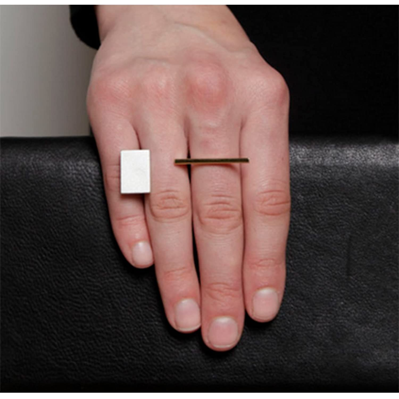 Amazon.com: EVBEA Unique Geometric Ring Womens Big Statememt Two ...